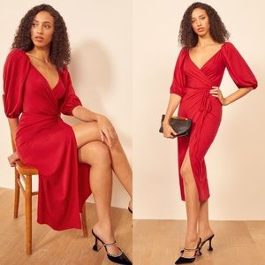 Reformation Calabra In Cherry Wrap Midi Dress